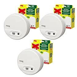 3 x Kidde FireX Ionisation Smoke Fire Alarm Detectors KF10 4870 with Built in Battery Backup Test and Hush Button from Kidde