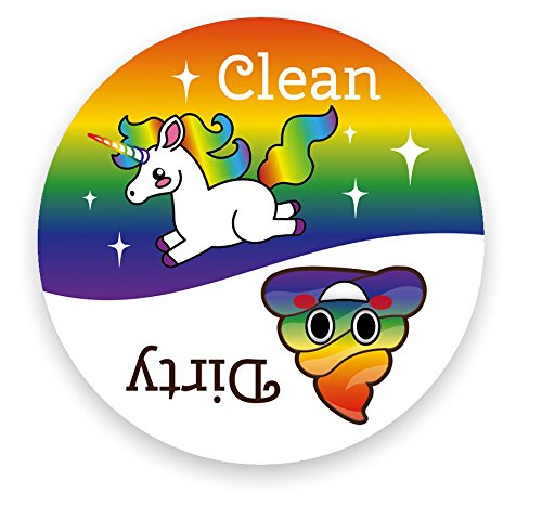 Dishwasher Emoji Magnet Clean Dirty 3 inch White Round Magnet - Cute Unicorn & Funny Rainbow Poop Face Emojis - Kitchen Magnet for Home Decor, Gift for Men & Women, or Party Favors, Made in USA (Dishwasher Clean Dirty Sticker compare prices)