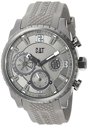 CAT WATCHES Men's 'Mossville Multi' Quartz Stainless Steel and Silicone Casual, Color:Grey (Model: AC15925521)