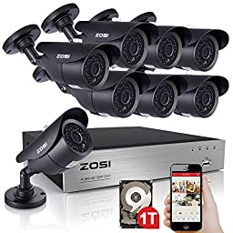 ZOSI 720P HD 8CH Video Security System with 8x 1280TVL Weatherproof Bullet Surveillance Camera NO Hard Drive ,42pcs IR Leds, 120ft(40m) Night Vision, Quick Remote Access Setup with Free App (Black)