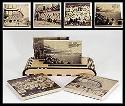 Set of 4 Vintage Pittsburgh Baseball Drink Coasters and 1 Wooden 4 Coaster Holder