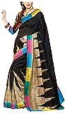 Binny Creation Women's cotton saree with Blouse Piece (Black)