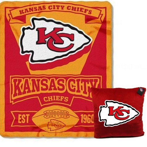 A Set Of 2 Piece Gift Set: 1 Nfl Team Pillow And 1 Nfl Fleece Throw Team Blanket - Kansas City Chiefs