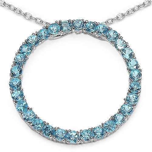 3.60 Carat Genuine Baby Swiss Blue Topaz Sterling Silver Pendant