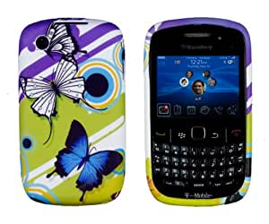 Green & Purple Butterfly Flexible TPU Gel Case for Blackberry Curve 8520 8530 9300 (AT&T Verizon Sprint T-Mobile)