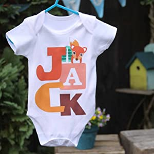 Clever Little Fox Big Letter personalised baby grow vest onesie size 0 - 18mths