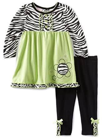 Kids Headquarters Baby-Girls Infant Zebra Print Tunic Top with Legging, Green/Black/White, 12 Months