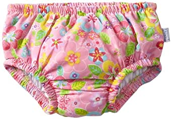 i play. Baby-girls Infant Ultimate Ruffle Swim Diaper, Light Pink Flower Field, 12 Months