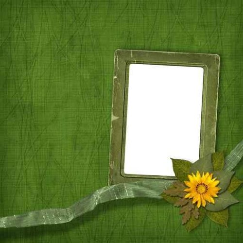 "Old Frame with Bunch of Flowers on the Abstract Background - 18""H x 18""W - Peel and Stick Wall Decal by Wallmonkeys"