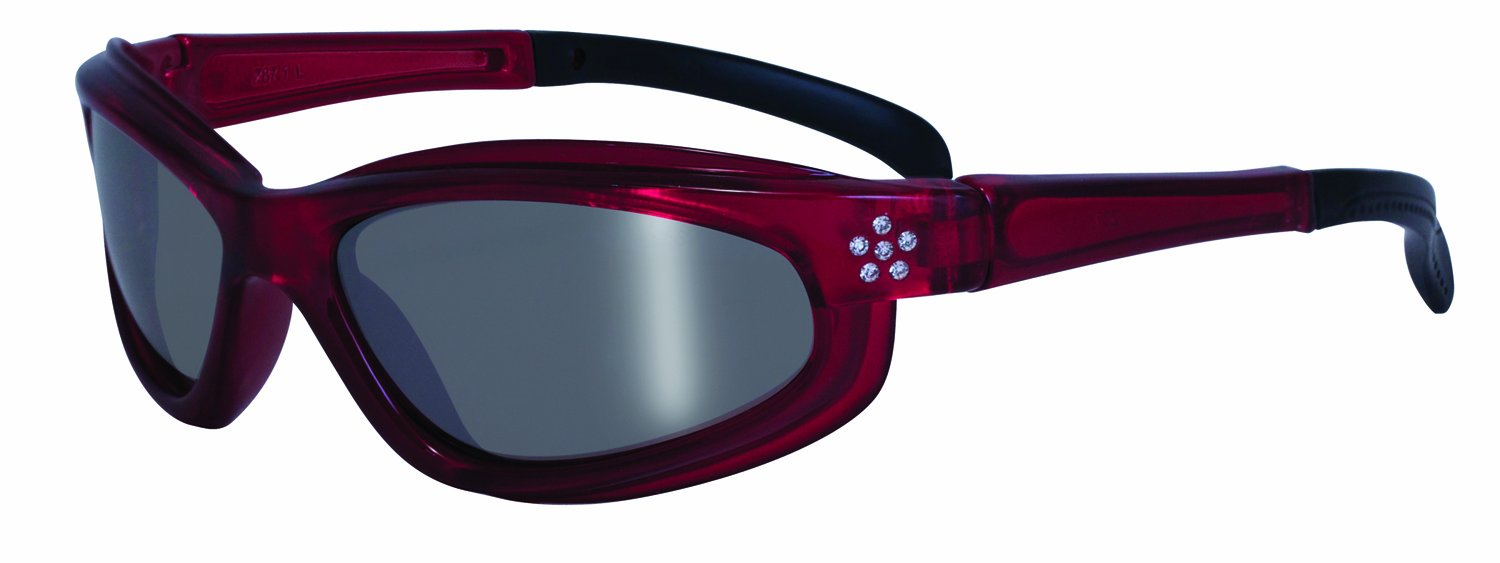 Specialized Safety Products CHINOOK RED M 95122 Women's Safety Glasses with Red Frames Featuring Rhinestone Accents and Silver Mirror Shatterproof Lenses