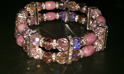 Double Stranded Pink Rhinestone Bracelet - Size 7.5 Inches Adult Regular - Item#C-1
