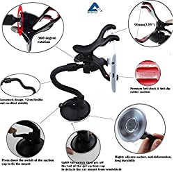 """AKSHAJâ""""¢ Quality Short Arm 360 Degree Rotatable Windshield Car Mobile Tablet Holder Double Clip Clamp for SmartPhones / GPS / Pad Placing Plate (Black)"""