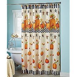 Pumpkin & Stars Shower Curtain