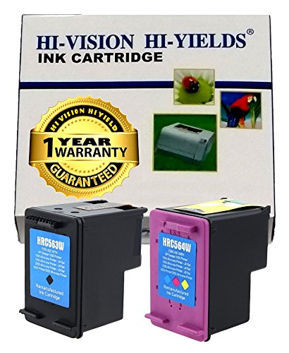 HI-VISION ® 2 Pack Remanufactured HP 61XL (CH563WN CH564WN, NEW CHIP) High Yield Black and Tri-Color Ink Cartridge Replacement for Deskjet 1010, Deskjet 2540 All-in-One, Envy 4500 e-All-in-One, Envy 5