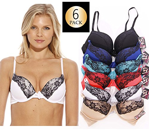 B40013-XX-40D Just Intimates Women's 6 Pack Bras