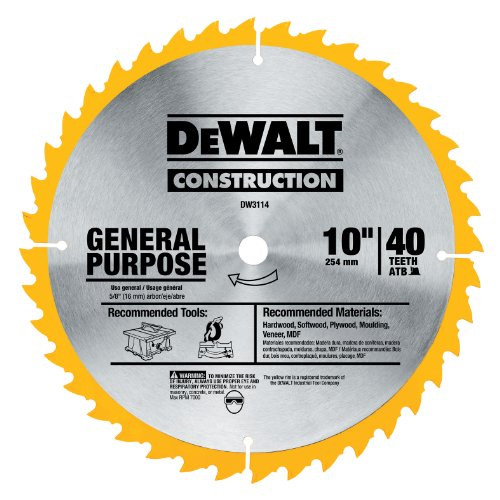 DEWALT DW3114 Series 20 10-Inch 40 Tooth ATB Thin Kerf Saw Blade with 5/8-Inch Arbor