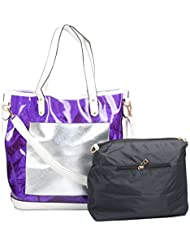 Moda King Women's Handbag (Purple And Black, Combo Of 2)