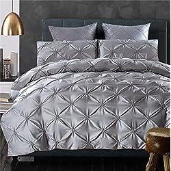LA MEJOR 100% Tencel/Cotton, Queen Size Luxurious Pinch Pleat Decorative Pintuck Bedding Set Grey