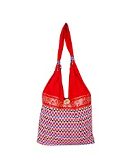 Womaniya Canvas Red Handbag For Women(Size-32 Cm X 32 Cm X 10 Cm) - B00SJ1KKKW