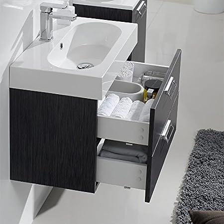 Mobile Arredo Bagno 60cm sospeso moderno rovere chiaro o scuro lavabo in mineralmarmo Mobili