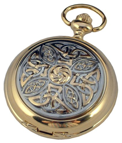A E Williams GP4955 Celtic mens quartz pocket watch with chain