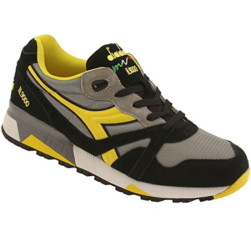Diadora N9000 NYL Mens Gray Yellow Suede/Synthetic Lace Up Sneakers Shoes 8
