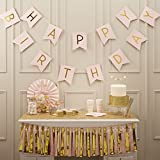 Ginger Ray Pastel Perfection and Gold Foiled Happy Birthday Bunting Banner, Pink