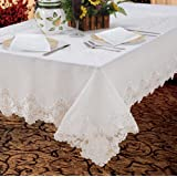"""Imperial Embroidered Vintage Lace Design 70"""" X 120"""" Oblong / Rectangle Tablecloth in White"""