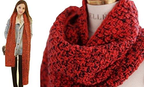 In Cristallo(インクリスターロ) 赤×黒 ロングニットマフラー 首巻き・ストール・スヌードの代わりに♪ 暖かい編み込みマフラー メンズ&レディース(男女兼用)ユニセックス カラー:レッド×ブラック