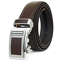 Stylish Mens Leather Belt Crocodile Pattern High Quality (Large, Brown)