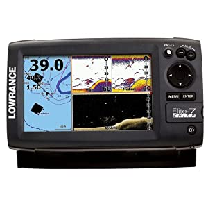Lowrance Elite-7 CHIRP Fishfinder Chartplotter with 83 200 KHz Transducer by Lowrance