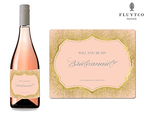 Will You Be My? - Set of 8 Gold Pink Wedding Wine Bottle & Gift Box Labels - Bridesmaid & Maid of Honor Proposal Gift - Engagement Party - Bridal Shower