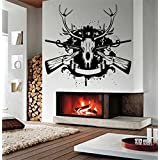 Wall Vinyl Sticker Decals Mural Room Design Decor Pattern deer Skull Hunting Weapon Gun Hobby Horn mi387
