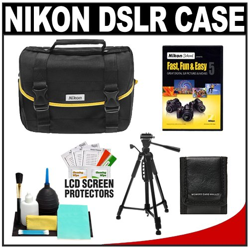 Nikon D3100 D3000 D5000 DSLR Digital Starter Kit with D-SLR Camera System Case + Nikon School Instructional DVD Fast, Fun & Easy 5 & Tripod