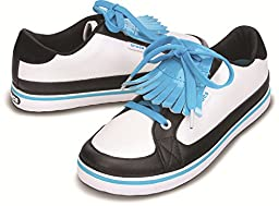 crocs Women\'s Bradyn Golf Shoe,White/Electric Blue,7 M US