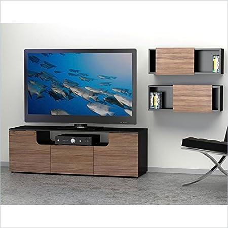 Modern Walnut Black TV Stand Set With Decorative Rectangles FMP25359