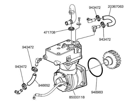 buy volvo truck air compressor kit for d12c and d12d