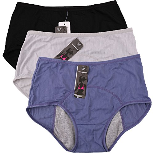 Women Mesh Holes Breathable Leakproof Period Panties 3 Pack,(US size L/7=Tag Size 9), Blue,black,gray (Period Pants compare prices)