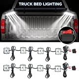 AUDEW 2Pcs 4 Pods 24Led Truck Bed Light Strips 2400 Lumens Total Unloading Cargo Light with On/Off Switch IP67 Waterproof for Pickup Truck, RV, SUV, Boats, Ice House (White)