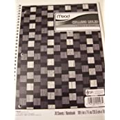 Mead College Ruled 1 Subject Notebook ~ Black, Gray, White Squares (70 Sheets, 140 Pages)