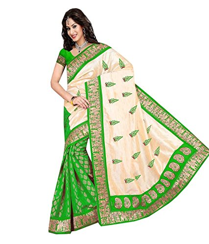 Yashoda Textile Green Color Chanderi Silk Embrodired Sarees With Un-Stitched Blouse Piece (1y.s_538_Green)