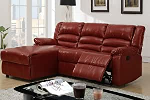 Bobkona recliner sectional set in burgundy for Burgundy leather chaise