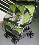 Sasha Kiddie Peg 4R Peg Perego Aria Twin and 60-40 Twin Stroller Rain with Wind Cover - Stroller Not Included