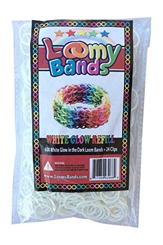 Glow in the Dark Rainbow Colored Loom Bands - 600 Gorgeous White Glow in the Dark Loom Bands Refill Pack - Includes 24 Clips - Make Dozens Of Unique Rubber Band Bracelets! - 1