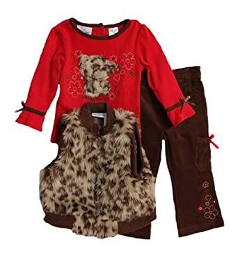 BT Kids Infant Baby Girls 3 Piece Leopard Faux Fur Vest Shirt Corduroy Pants Set