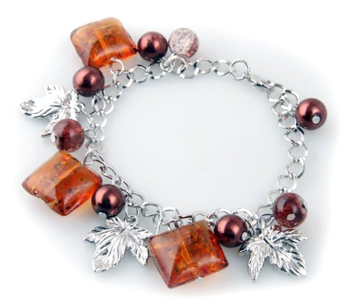 Brown Glass Charm Bracelet