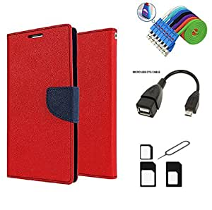 MAX JIO Mercury Diary Wallet Style Flip Cover Case for Samsung Galaxy Mega 2 G750F/G7508 (RED) + Nano Sim Adapter + Micro USB OTG Cable + Micro USB Charging Cable Combo Set