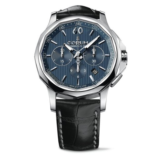 Corum Admiral´s Cup Legend 42 Chrono 984.101.20/0F01 AB10 42 Automatic Stainless Steel Case Black Leather Band anti-reflective sapphire Men's Watch