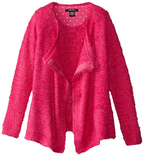 Nautica Big Girls' Furry Yarn Drapy Cardigan with Pin Dot Moon Patch, Medium Pink, 10
