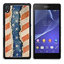 buy Msd Sony Xperia Z2 Aluminum Plate Bumper Snap Case Grunge Ripped Paper Usa Flag Pattern 14103491